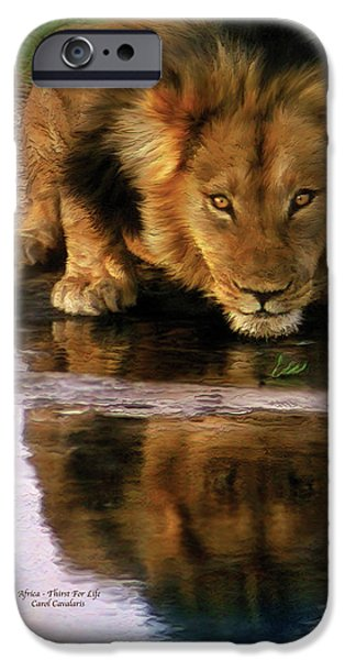 African Lion Art iPhone Cases - Thirst For Life iPhone Case by Carol Cavalaris