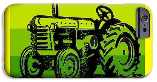 Agriculture Drawings iPhone Cases - This is how I roll tractor tee iPhone Case by Edward Fielding