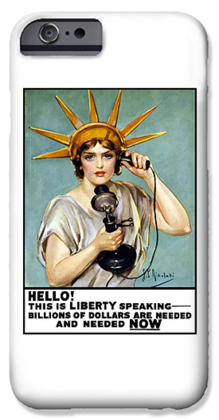 One Mixed Media iPhone Cases - This Is Liberty Speaking - WW1 iPhone Case by War Is Hell Store