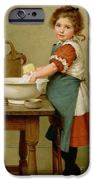 Best Sellers -  - Little Girl iPhone Cases - This Is the Way We Wash Our Clothes  iPhone Case by George Dunlop Leslie