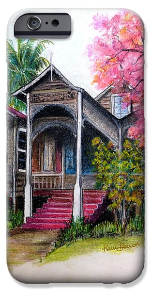 Haunted House Pastels iPhone Cases - This Old House  iPhone Case by Karin Kelshall- Best