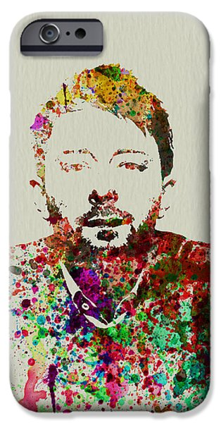 Watercolors Paintings iPhone Cases - Thom Yorke iPhone Case by Naxart Studio