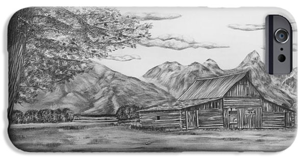 Colorado Drawings iPhone Cases - Thomas Moulton Barn iPhone Case by Lena Auxier