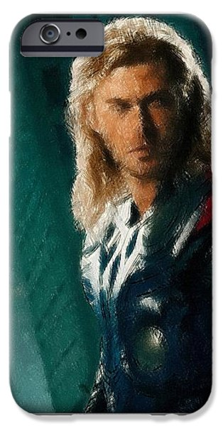 Book Pastels iPhone Cases - Thor Oil Pastel Sketch iPhone Case by Movie Poster Prints