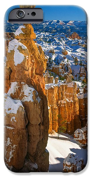Red Rock iPhone Cases - Thors Hammer in Winter iPhone Case by Inge Johnsson