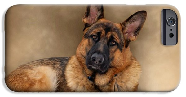 Alsatian iPhone Cases - Those Eyes iPhone Case by Sandy Keeton