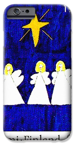 Night Angel iPhone Cases - Three Angels iPhone Case by Lanjee Chee