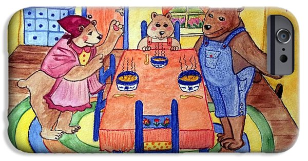 Porridge iPhone Cases - Three Bears iPhone Case by Julie Brugh Riffey