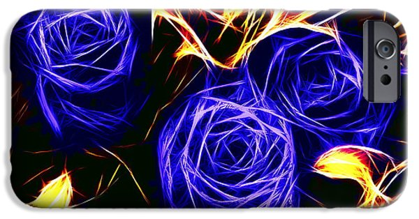 Nature Abstract iPhone Cases - Three blue roses  iPhone Case by Alexey Bazhan