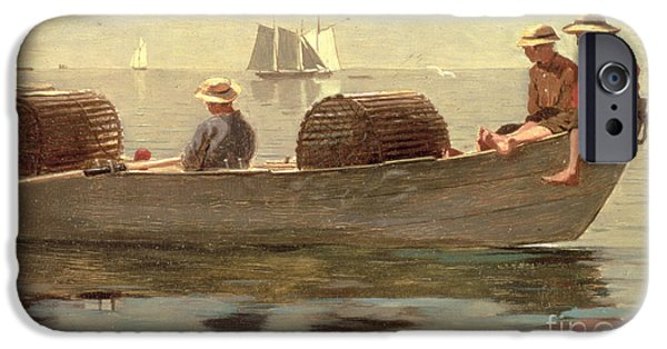 Reflection Paintings iPhone Cases - Three Boys in a Dory iPhone Case by Winslow Homer