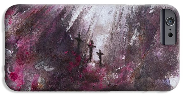 Crucifixtion iPhone Cases - Three Crosses iPhone Case by Rachel Christine Nowicki