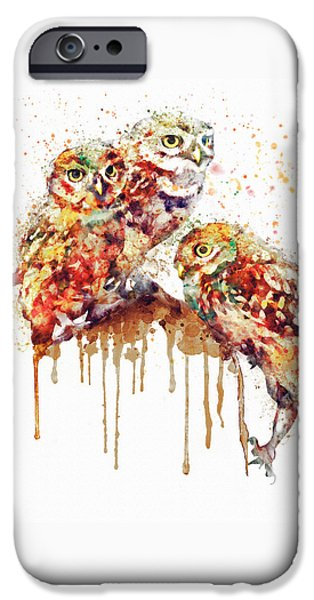 Three Sizes iPhone Cases - Three Cute Owls watercolor iPhone Case by Marian Voicu