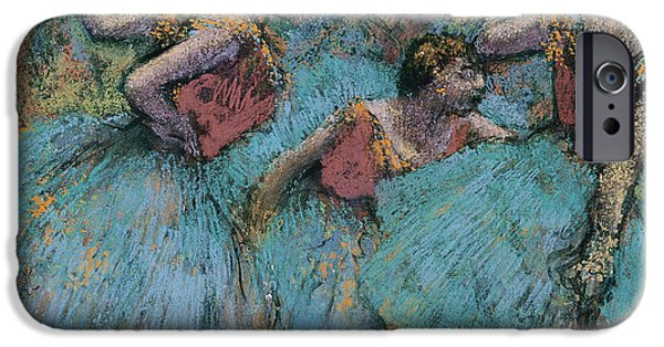 Ballet Dancers iPhone Cases - Three Dancers Blue Tutus Red Bodices iPhone Case by Edgar Degas