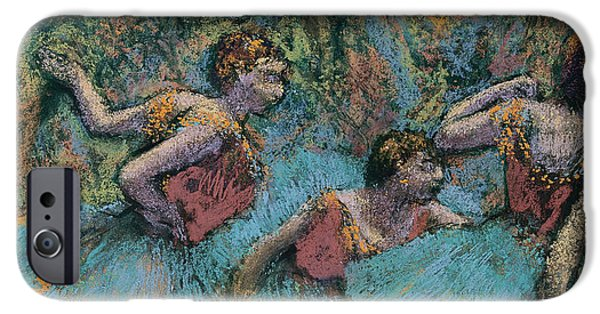 19th Century Pastels iPhone Cases - Three Dancers Blue Tutus Red Bodices iPhone Case by Edgar Degas