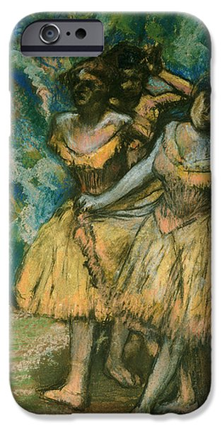 Tree Print Pastels iPhone Cases - Three Dancers with a Backdrop of Trees and Rocks iPhone Case by Edgar Degas