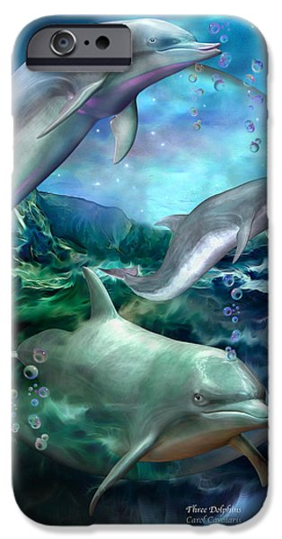 Dolphin iPhone Cases - Three Dolphins iPhone Case by Carol Cavalaris