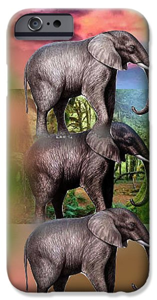 Elephants iPhone Cases - Three Elephants iPhone Case by Thilini Wanigarathne