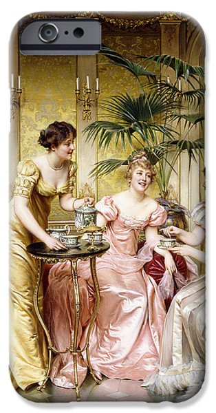 Furniture iPhone Cases - Three for Tea iPhone Case by Joseph Frederic Charles Soulacroix