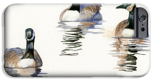 Geese iPhone Cases - Three Geese with Black Necks iPhone Case by Sharon Freeman