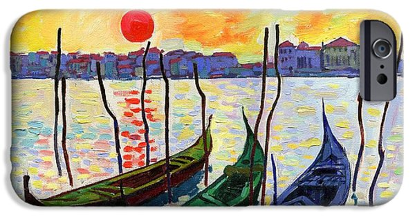 Tree Art Print iPhone Cases - Three Gondolas #19 iPhone Case by Alfred Prifti