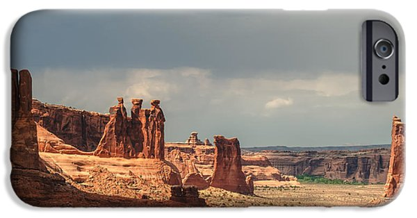 Red Rock iPhone Cases - Three Gossips iPhone Case by Joseph Smith