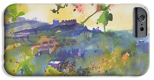 Tuscan Landscapes iPhone Cases - Three houses Montalcino  Italy iPhone Case by Simon Fletcher