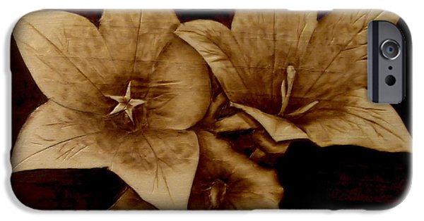 Petals Pyrography iPhone Cases - Three iPhone Case by Jo Schwartz