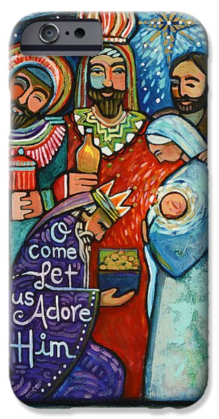 Star Of Bethlehem iPhone Cases - Three Kings O Come Let us Adore Him iPhone Case by Jen Norton