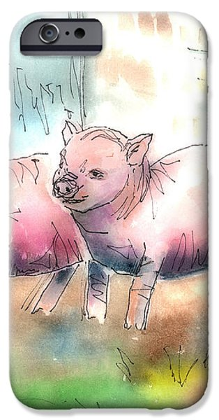 Three Little Pigs iPhone Case by Arline Wagner