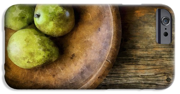 Wooden Bowl iPhone Cases - Three Pear Still Life iPhone Case by Edward Fielding