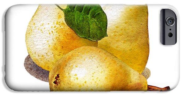 Pears iPhone Cases - Three Pears iPhone Case by Irina Sztukowski