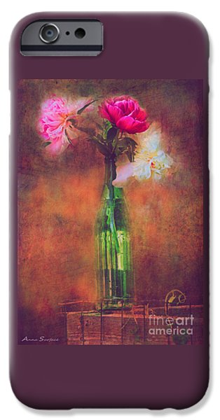 Floral Digital Art Digital Art iPhone Cases - Three Peonies In Green Bottle iPhone Case by Anna Surface