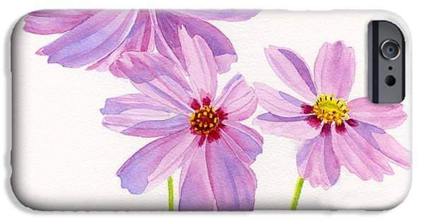 Cosmos Paintings iPhone Cases - Three Pink Cosmos Blossoms Square Design iPhone Case by Sharon Freeman