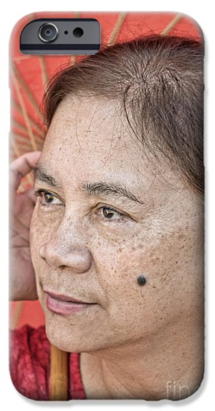 Beauty Mark iPhone Cases - Three Quarter Portrait of a Filipina with a Mole on Her Cheek  iPhone Case by Jim Fitzpatrick