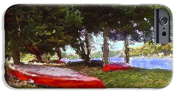 Canoe iPhone Cases - Three Red Canoes iPhone Case by Joan Reese