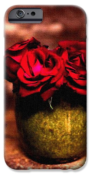Abstract Digital Pastels iPhone Cases - Three Red Roses H a iPhone Case by Gert J Rheeders