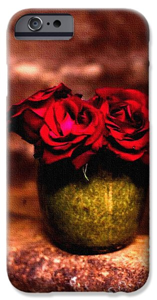 Abstract Digital Pastels iPhone Cases - Three Red Roses H b iPhone Case by Gert J Rheeders