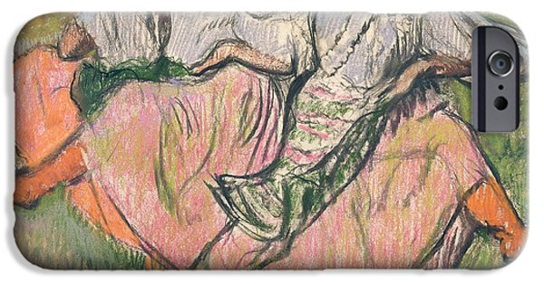 Woman In A Dress iPhone Cases - Three Russian Dancers iPhone Case by Edgar Degas