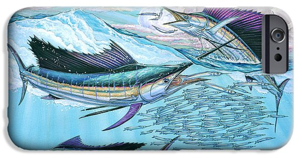 Slam Paintings iPhone Cases - Three sailfish and bait ball iPhone Case by Terry  Fox