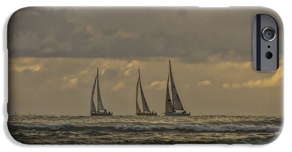Sailboat Ocean iPhone Cases - Three Sheets To The Wind iPhone Case by Mitch Shindelbower