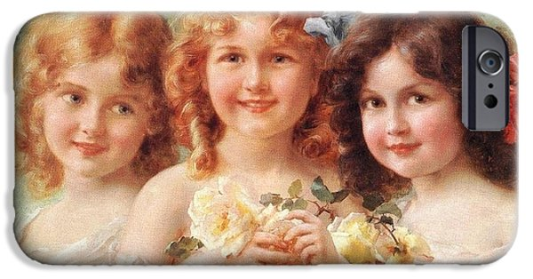 Little Girl iPhone Cases - Three Sisters iPhone Case by Emile Vernon