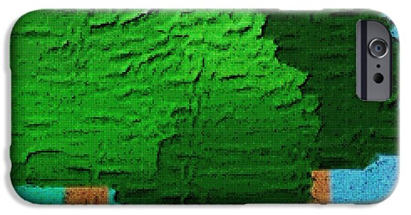 Tetris Block iPhone Cases - Three Tree Forest iPhone Case by Jacquin