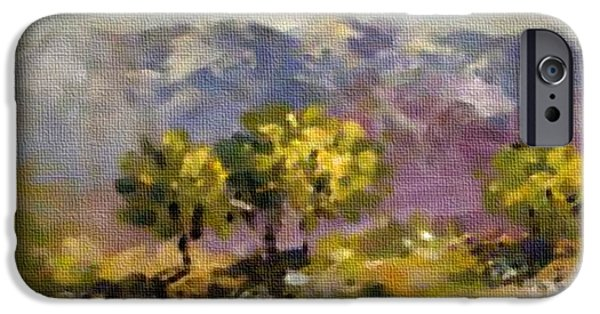 Abstract Digital Pastels iPhone Cases - Three Trees on a Hill H b iPhone Case by Gert J Rheeders