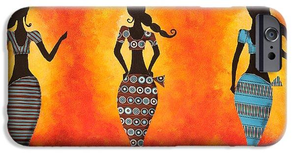 Sisters Drawings iPhone Cases - Three women iPhone Case by Nirdesha Munasinghe