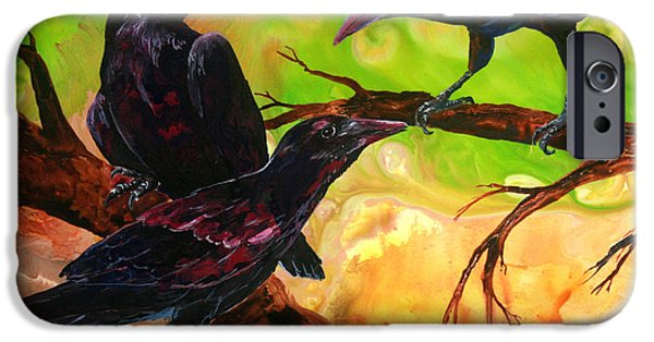 Crows iPhone Cases - Threes a Crowd iPhone Case by Sherry Shipley