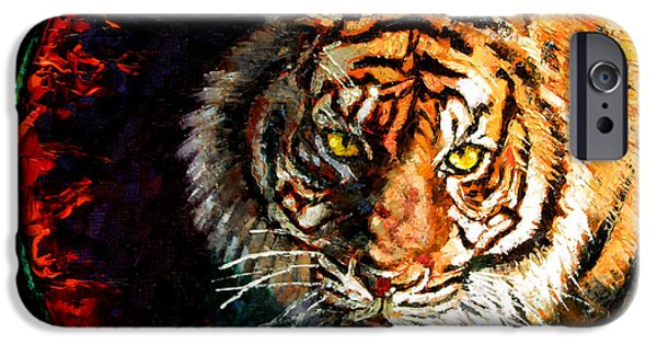 Bengal Tiger iPhone Cases - Through the Ring of Fire iPhone Case by John Lautermilch