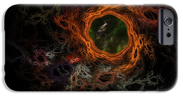 Si-fi Fractal iPhone Cases - Through the Worm Hole iPhone Case by David Lane