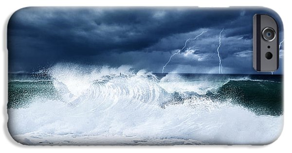 Atlantic iPhone Cases - Thunderstorm and lightning on the beach iPhone Case by Anna Omelchenko