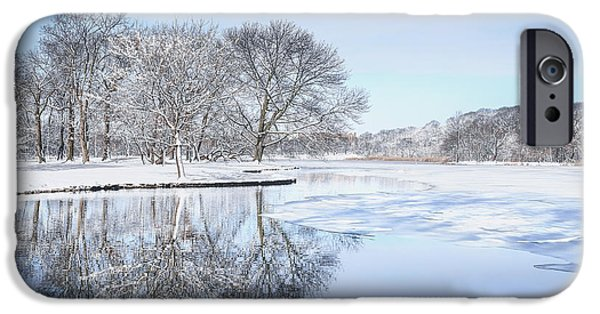 Serenity Landscapes iPhone Cases - The March Of Winter iPhone Case by Evelina Kremsdorf