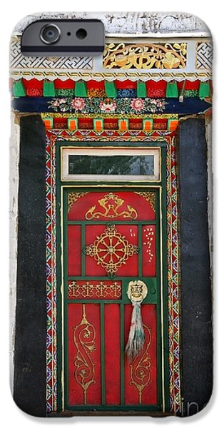 Kate iPhone Cases - Tibet Red Door iPhone Case by Kate McKenna